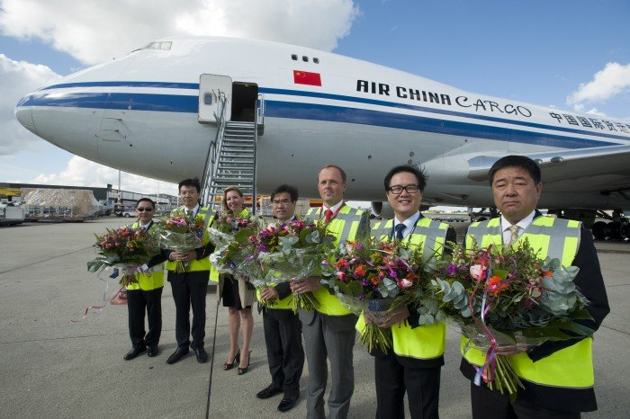 Nederland. Luchthaven Schiphol Amsterdam Airport. 12 september 2012. inaugurele vlucht van China Air Cargo. foto: Herman Wouters